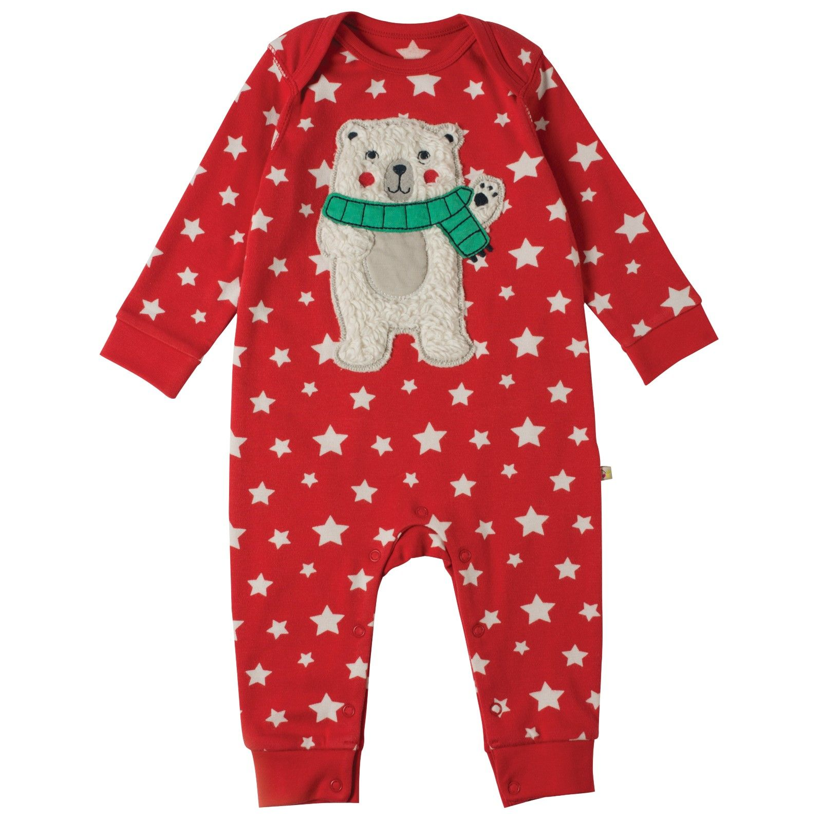 This red starry playsuit with a cuddly polar bear applique is perfect for  tiny tots. This festive romper will look great at Christmas and throughout  the ... f3ae5c8a4