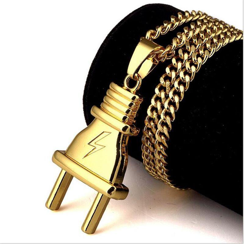 Hot Sale Gold Plated Plug Pendant Gold Chain Long Necklace Men