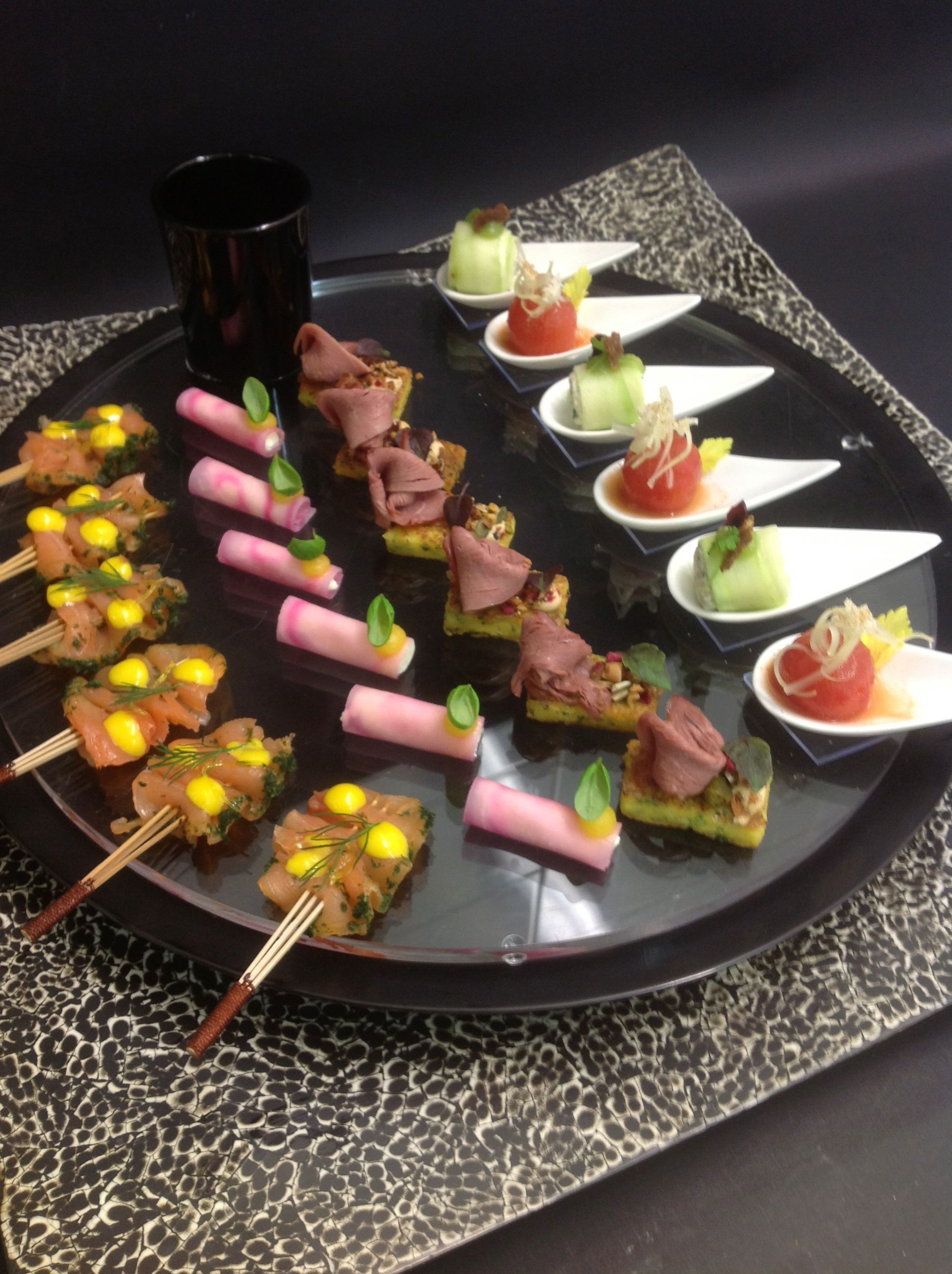 Gold and white wedding buffet dinner late night snack for Appetizer canape