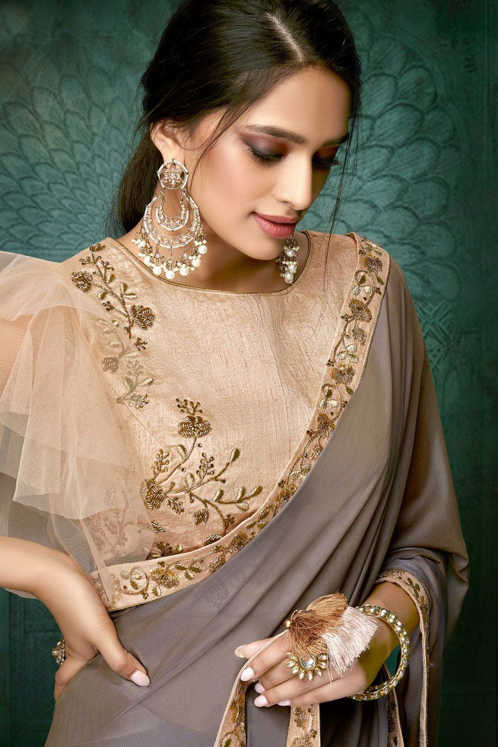 Latest Hand Design Saree Blouse Party Wear Sarees Blouse Designs Saree Wearing Styles