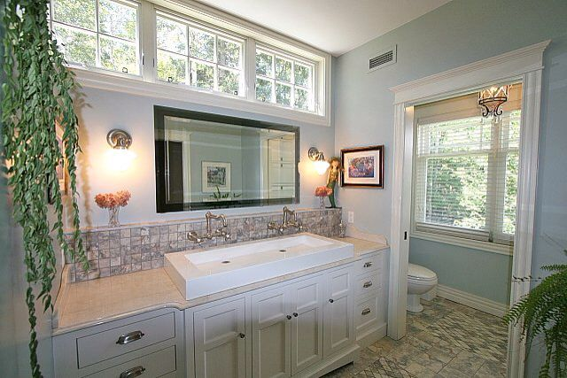 Bathroom With Transom Window Above Mirror Perfect For A Ground Floor Bathroom On A S Small Master Bathroom Master Bathroom Design Luxury Bathroom Master Baths