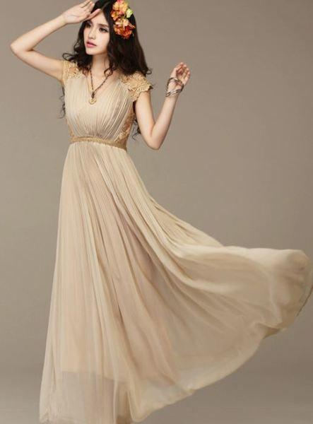 fea6e7b1a4e Beautiful Beige Romantic Evening Dress Lace Beige Maxi Evening Dresses