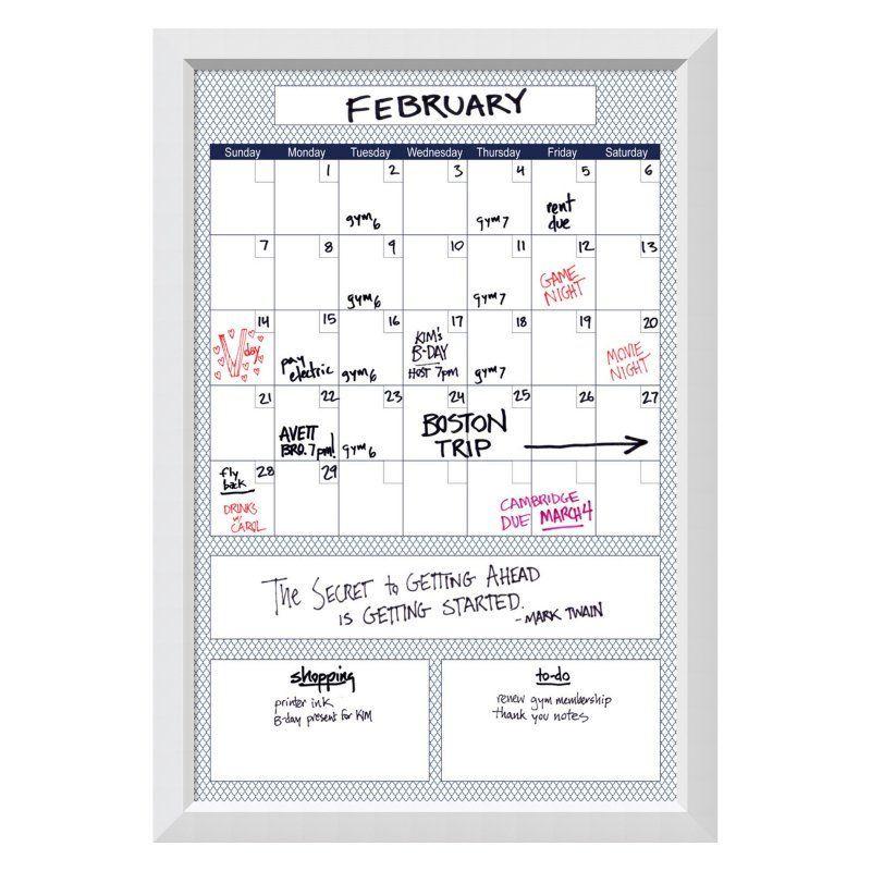 Amanti Art Blue Quatrefoil Organize Calendar Glass Dry Erase Board