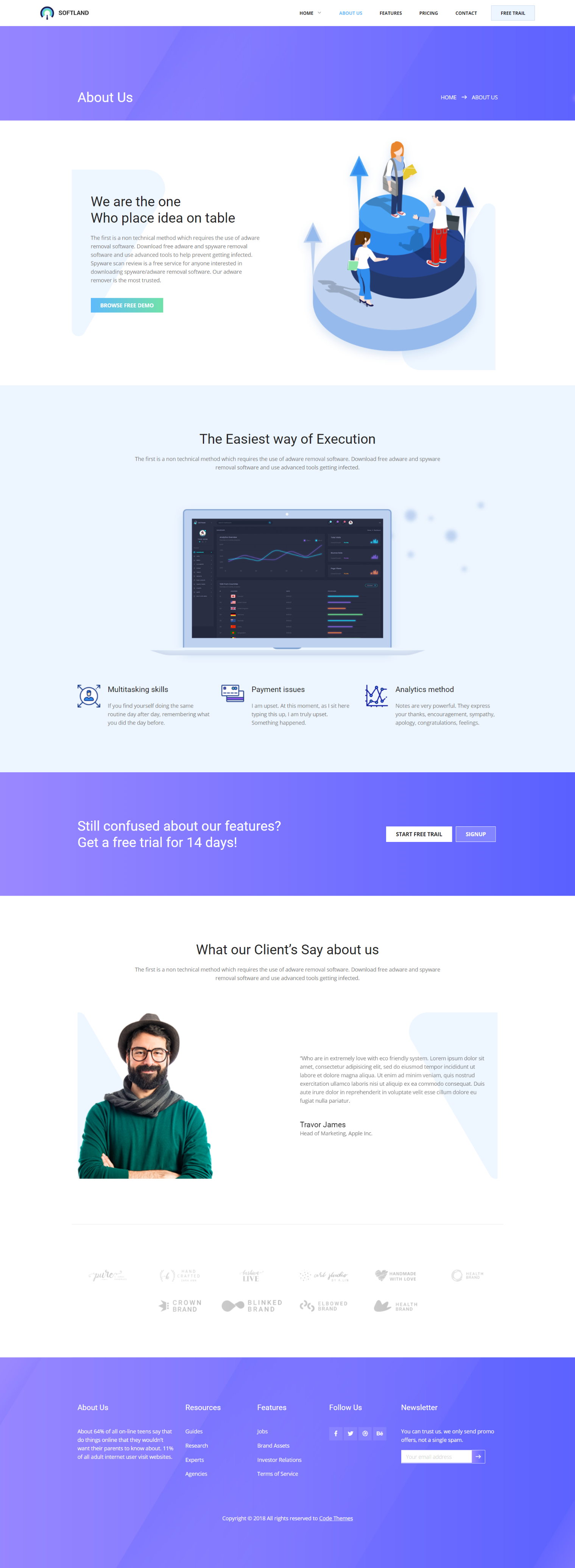 Softland Creative Clean Modern Trendy Design Saas And Software Template Gradient About Us Page Web Clean Web Design About Us Page Design Web Design