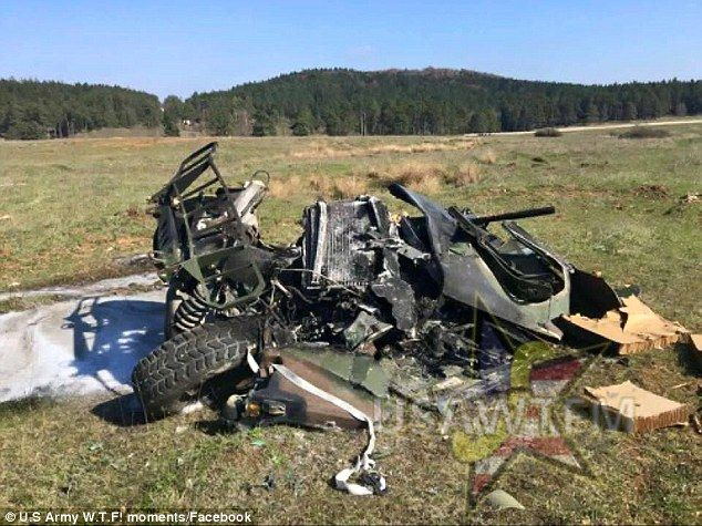 The mangled remains of the Humvee on the ground in Germany after crashing from hundreds of feet in the air [634  475]