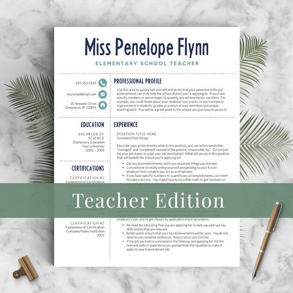 Elementary Teacher Resume Template for Word  Pages, 1 - 3 Pages