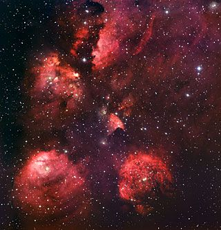 - * NGC 6334 (or) Cat's Paw nebula * - The constellation Scorpius is where this nebula is located -