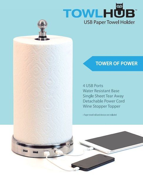 TowlHub -- Power up all your devices with this one-of-a-kind paper towel holder! The handy, innovative and water resistant TowlHub utilizes only one power cord to safely charge up to four separate devices. Perfect for the kitchen or workroom, great for RV's too!