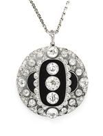 A Platinum, Diamond and Onyx Pendant, Austrian, Circa 1923.
