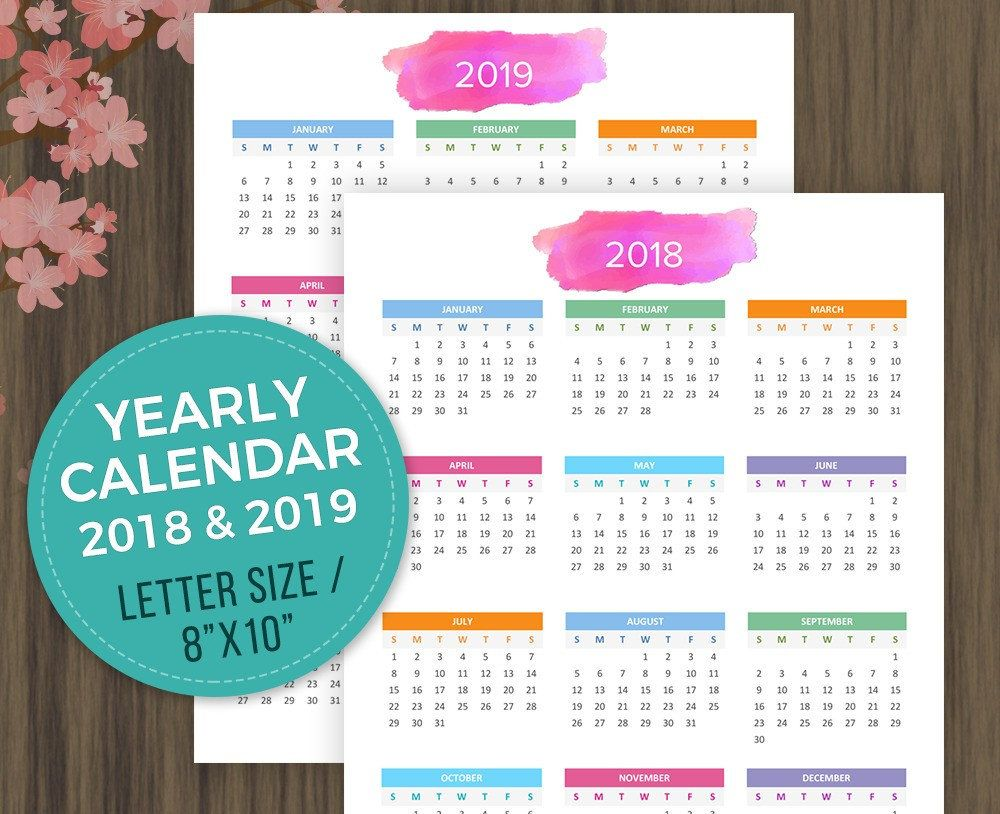 printable calendar 2018 2019 desktop calendar wall calendar year at a glance yearly planner yearly organizer letter size 8x10 digital