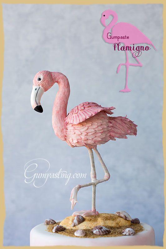 {A Cake with a Gumpaste/Fondant Flamingo Cake Topper}