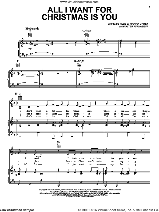 A All I Want For Christmas Is You Sheet Music For Voice Piano Or Guitar Sheet Music Christmas Sheet Music Sheet Music Pdf