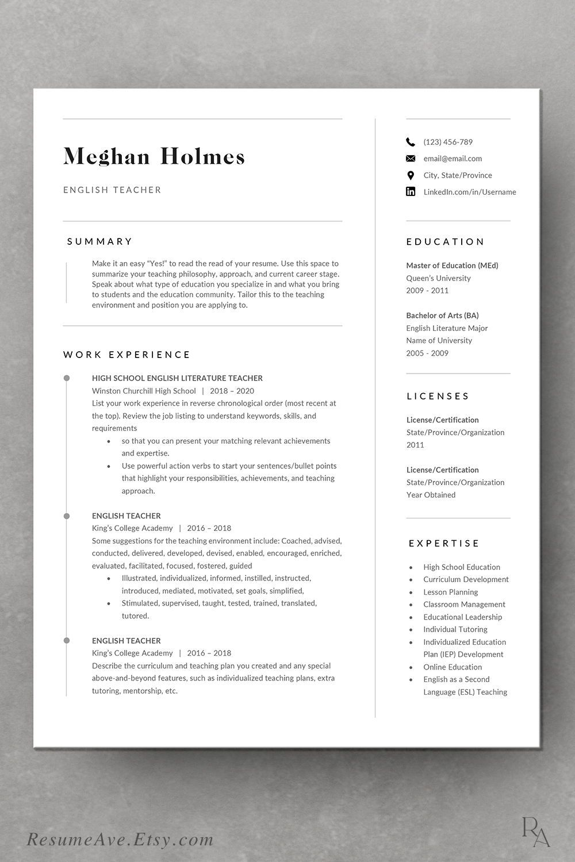 Elegant teacher resume template Word and cover letter