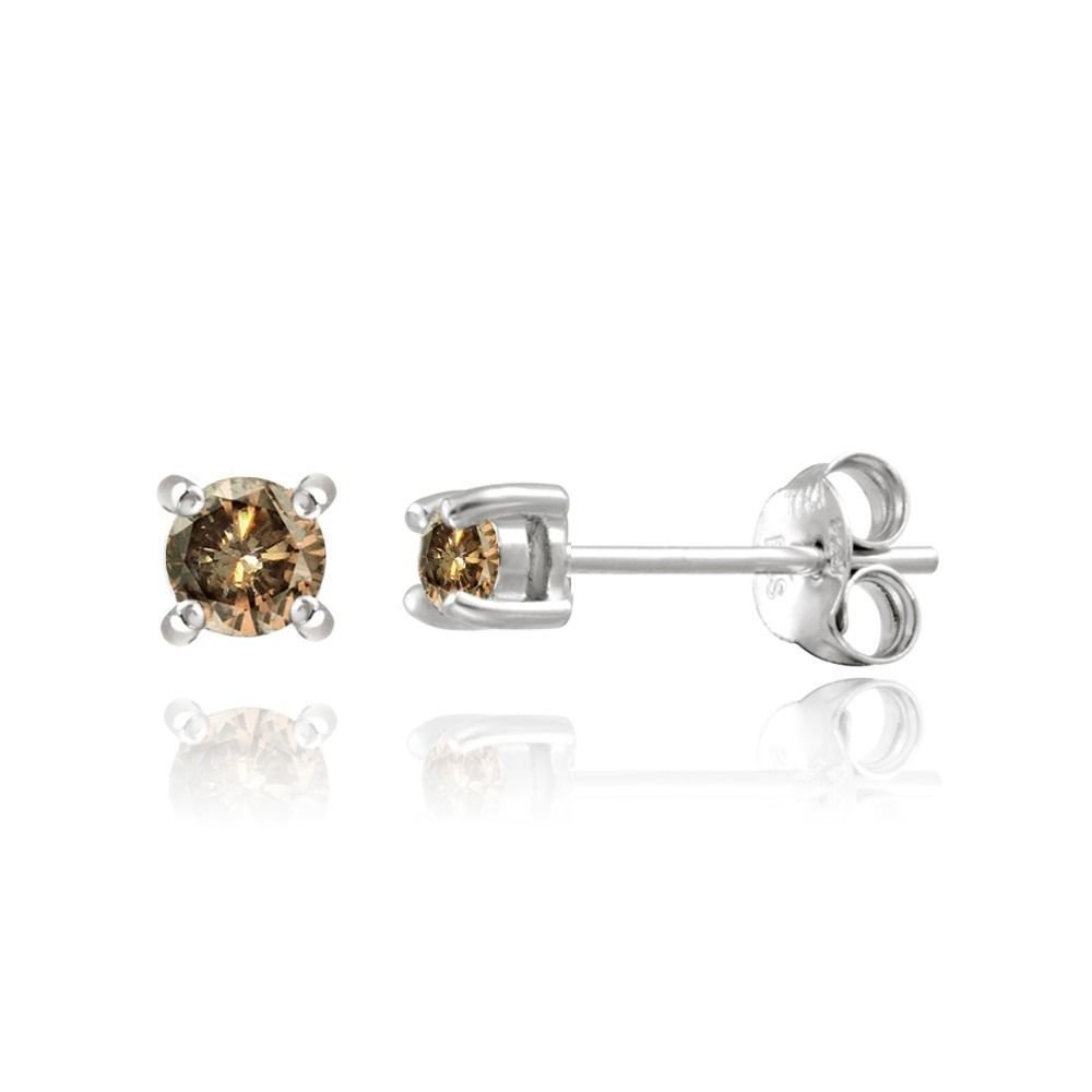 rose elora diamond tdw earrings gold champagne pin stud