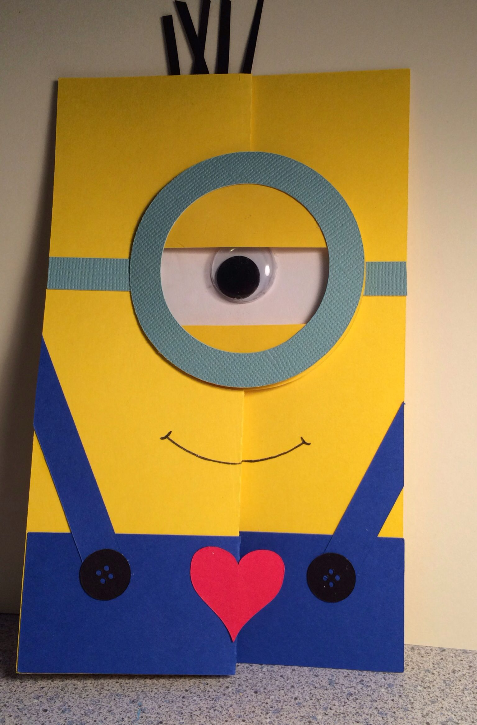 One in A Minion Valentines Card flip it Card Cut from Silhouette