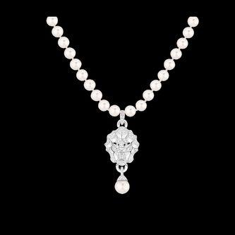 Collar Lion en Oro blanco de 18 quilates, diamantes y perlas de cultura. - CHANEL