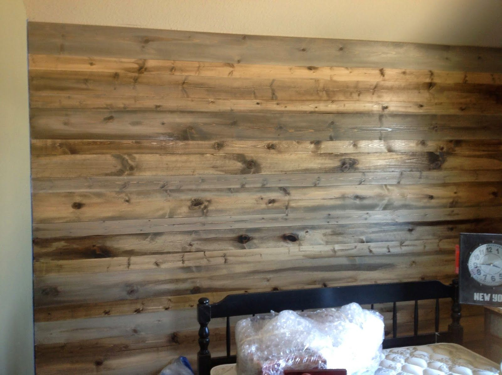 Wood Feature Walls New Pine Planks Stained To Look Like