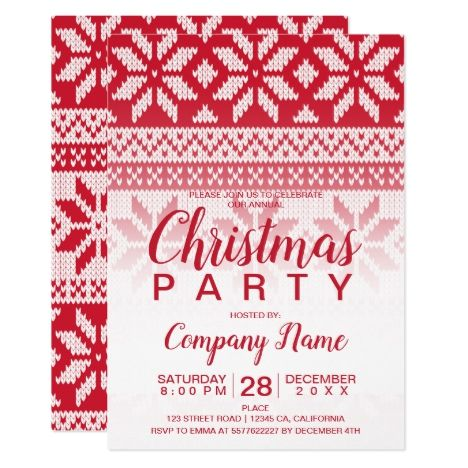 Ugly Christmas sweater red white corporate party Invitation in 2018