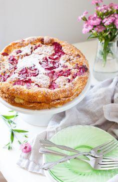Rhubarb Magic Custard Cake - The Kitchen McCabe