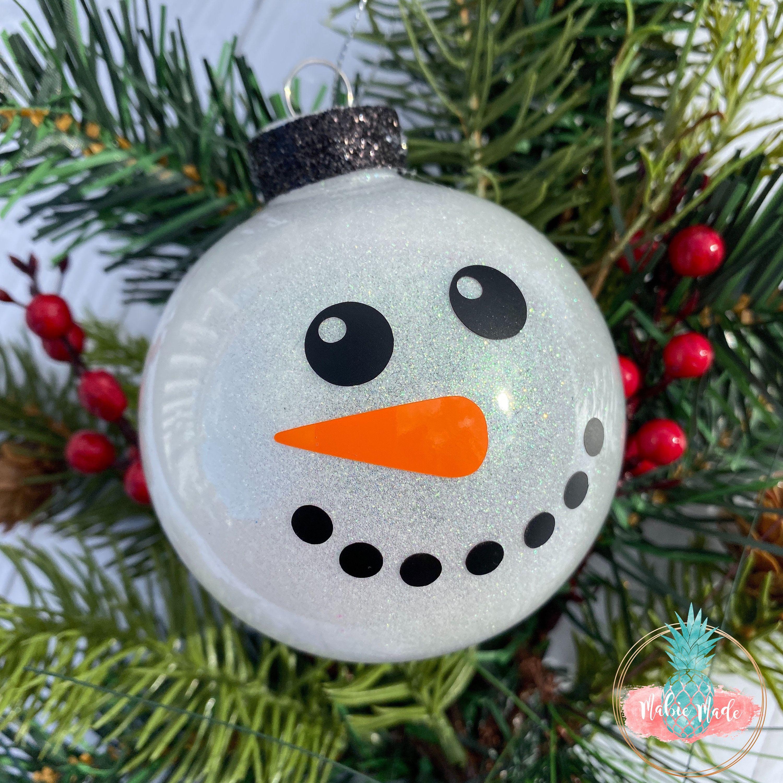 Simple Snowman Glitter Ornament Personalized Etsy Homemade Christmas Ornaments Diy Felt Christmas Ornaments Glitter Ornaments