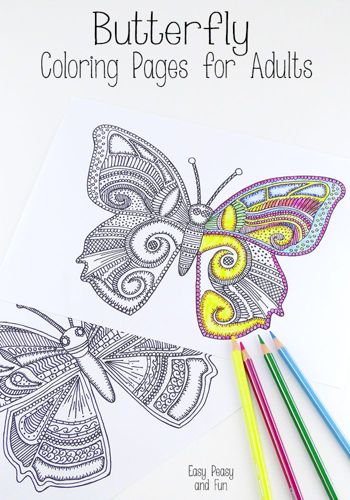 butterfly coloring pages for adults easy peasy and fun - Free Easy Coloring Pages