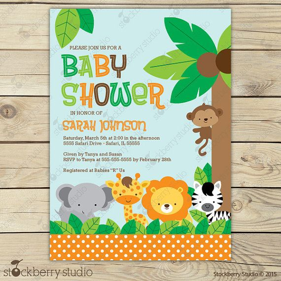 Jungle Safari Baby Shower Invitation Printable Safari Baby Shower