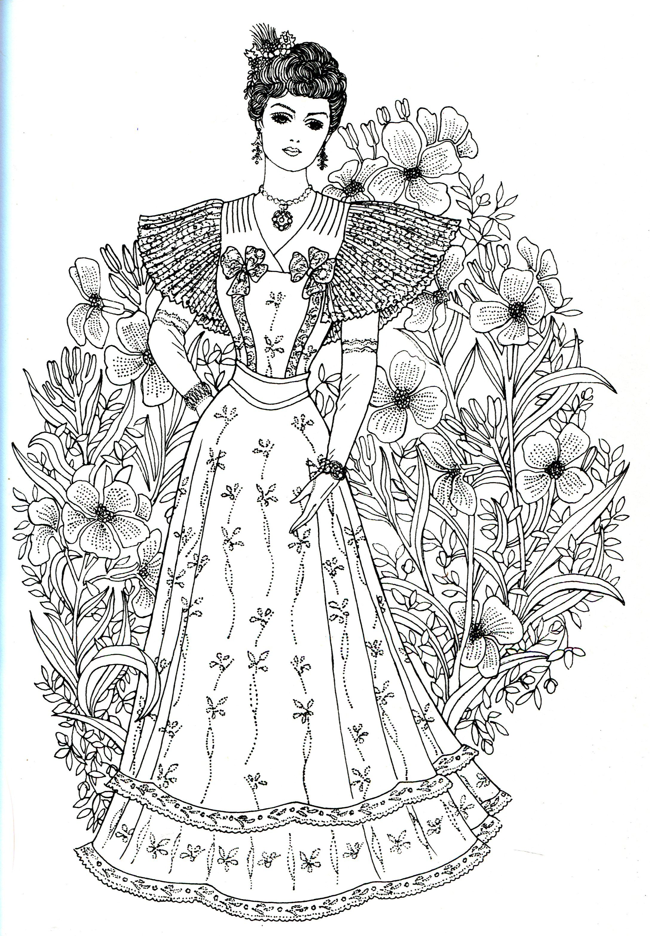 Art Nouveau Fashions for coloring | Adult coloring book ...