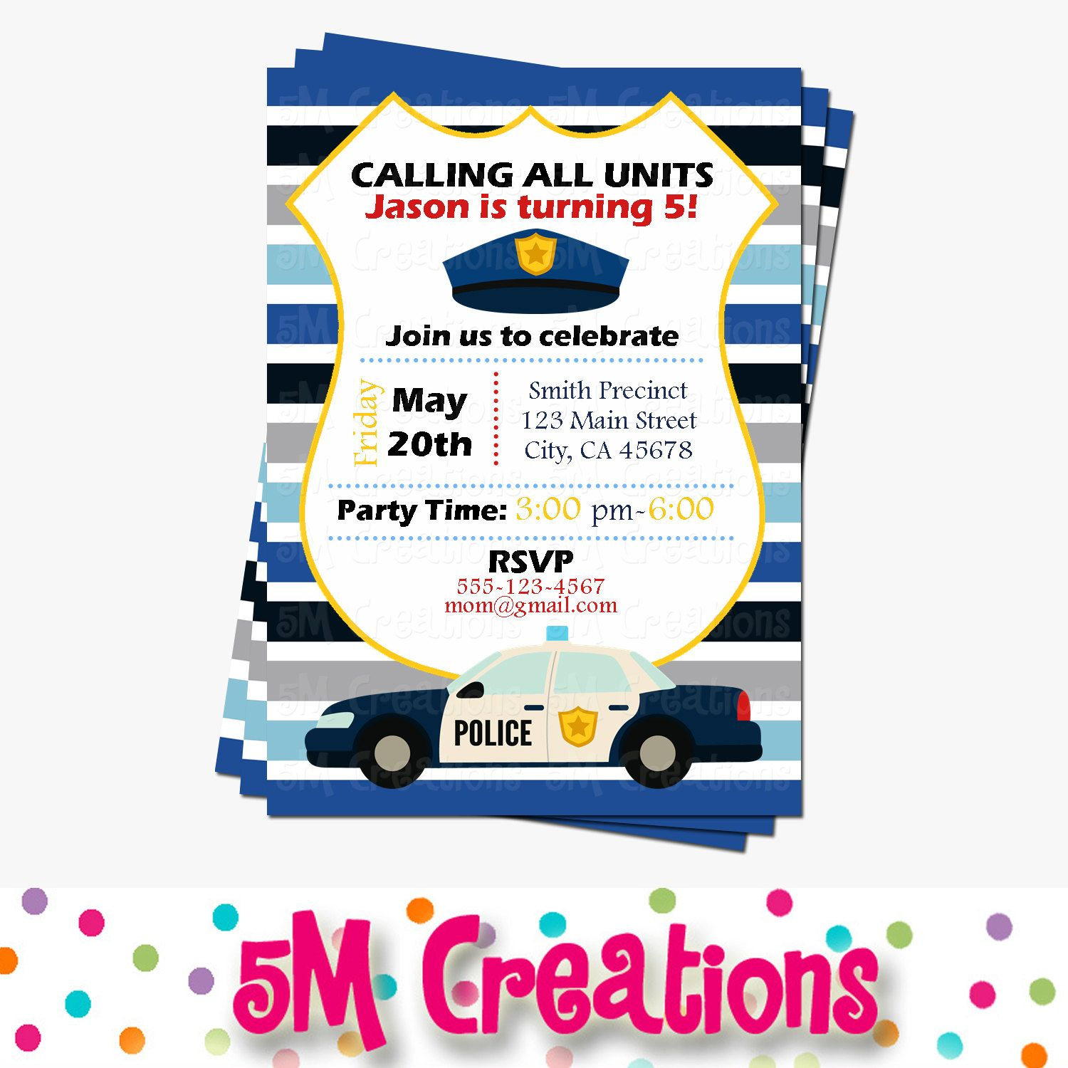 Police Party Invitations Cop Party Invite Police Birthday – Boy Party Invitations