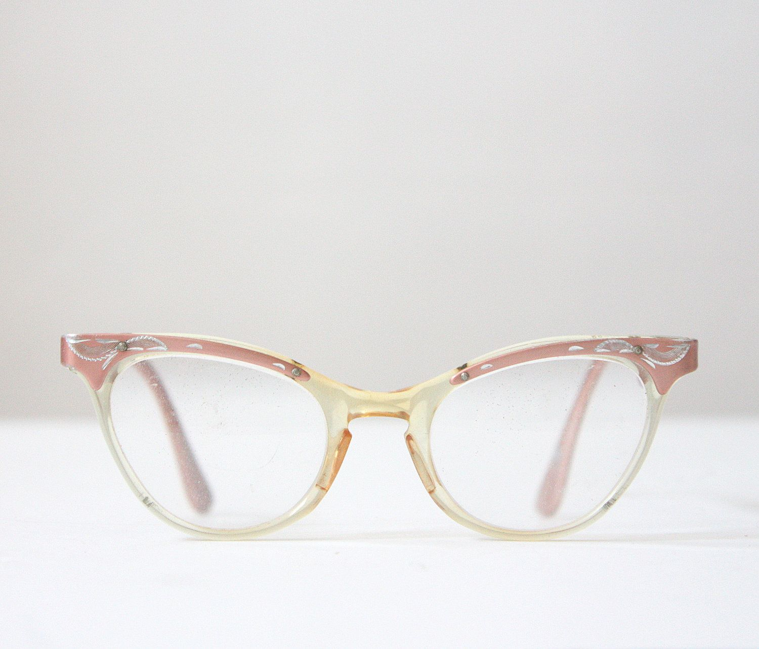vintage pink glasses - 1950's pink etched glasses