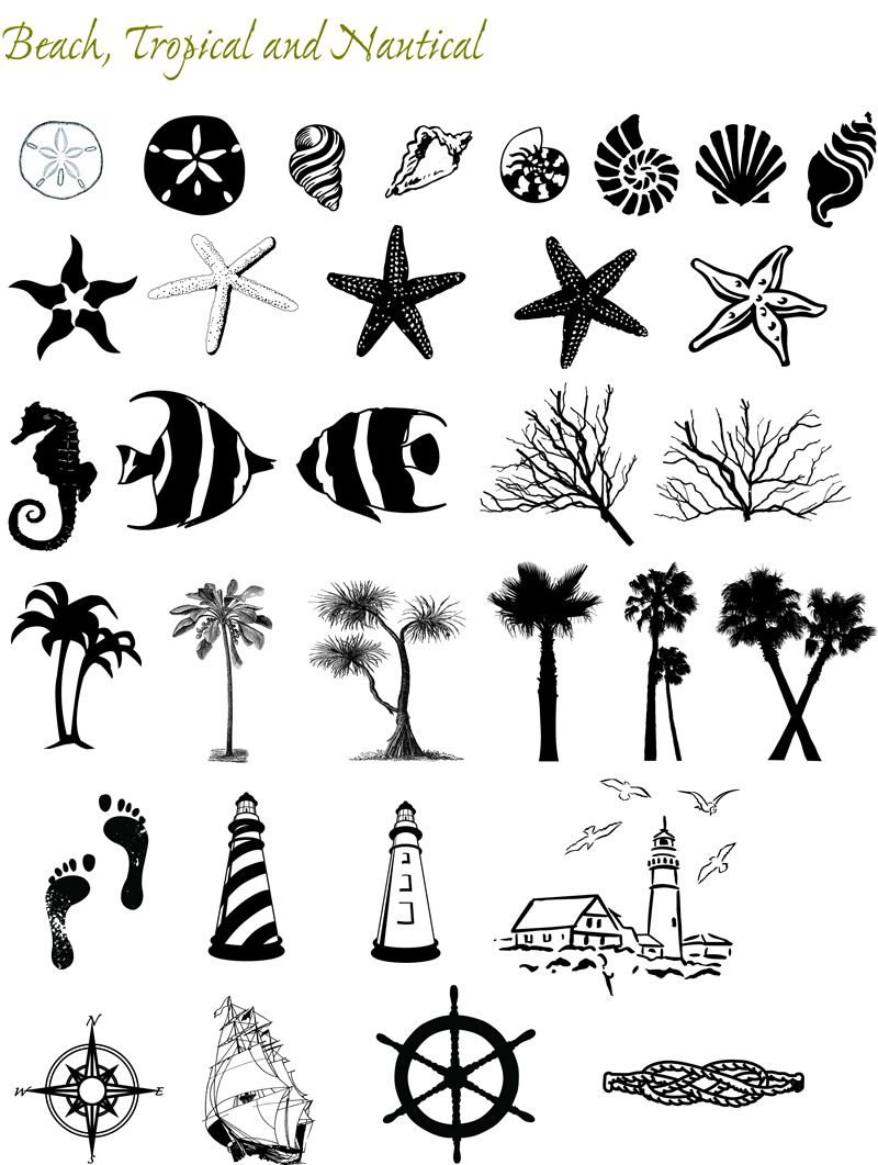 Beachy Henna Tattoos: Graphic Themes: Beach And Nautical