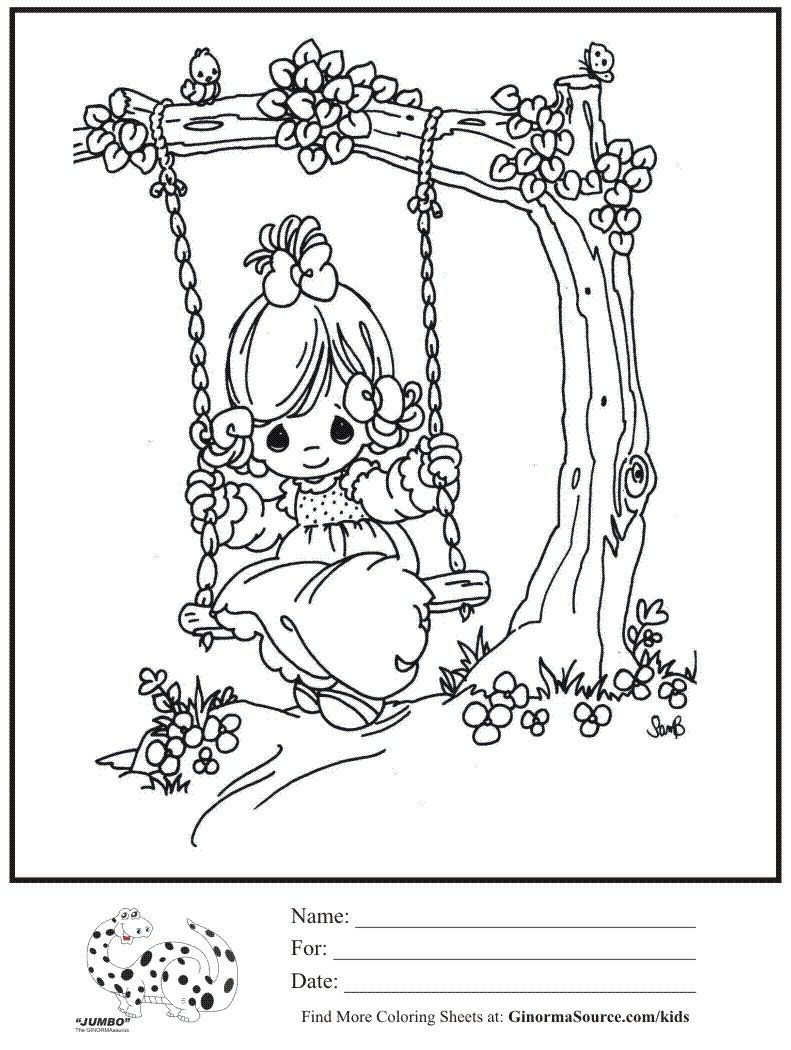 kids coloring page swinging tree swing precious moments