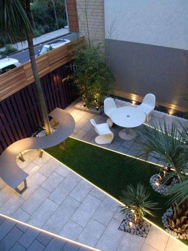 Moderne Dachterrasse Gestaltung Led Leisten Bodenleuchten Sitzbank ... Moderne Gestaltung Der Dachterrasse