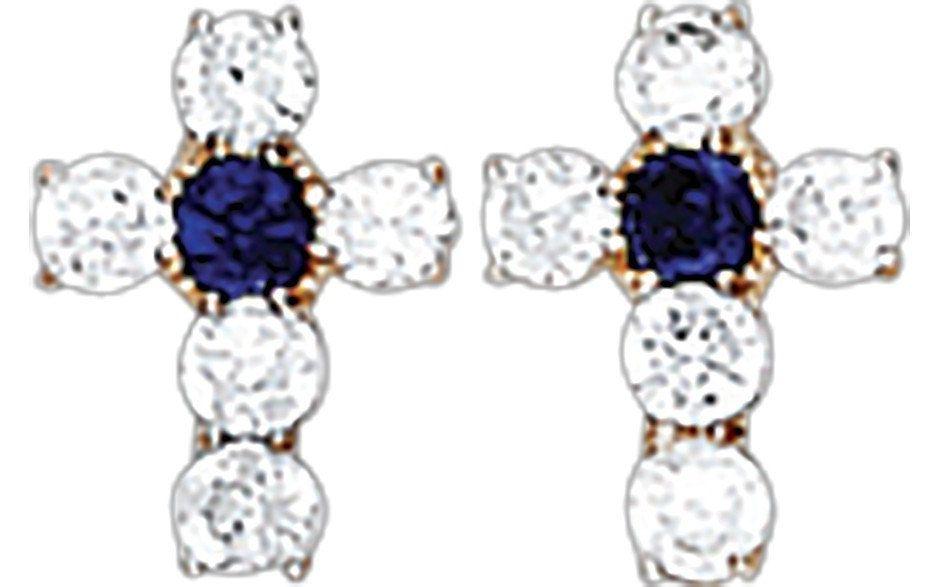 14K Gold CZ Cross Screw Backing Earrings, Birthstone Earring, Swarovski CZ Crystals Cross Earrings, Gift for Her, Stud Earring, Birthstone de Genuine14kJewelry en Etsy