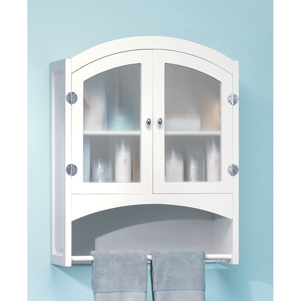 White Frosted Glass Hanging Bathroom Wall Medicine Cabinet Towel