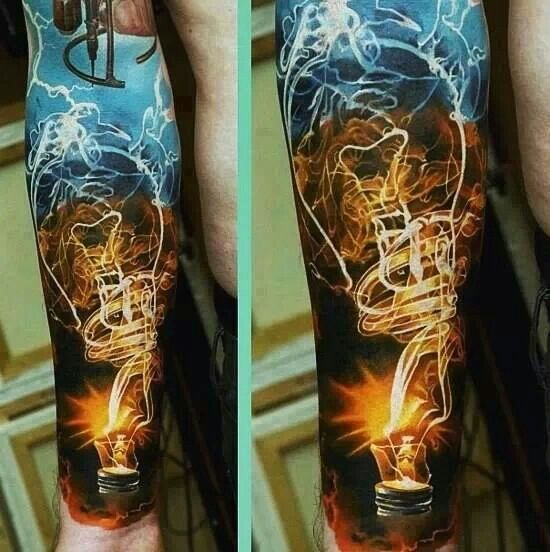 Impressive Is Not The Word Light Bulb Electric Tattoo Amazing Forearm Sleeve Tattoos Best Sleeve Tattoos Lightbulb Tattoo