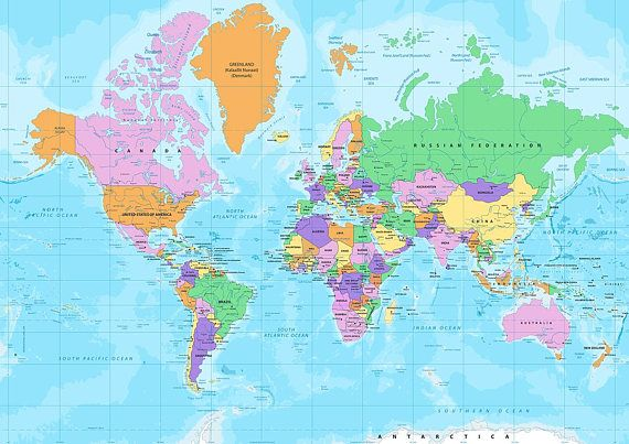 World Map Wrapping Paper Travel Theme Gift Wrap Travel Gift Map