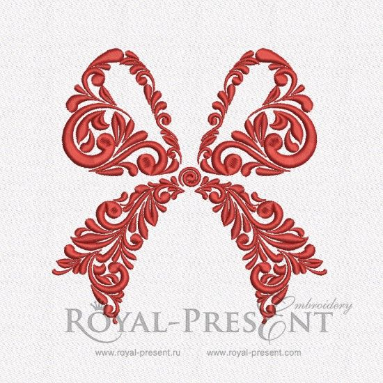 Machine Embroidery Design – Vintage ornamental bow   Royal Present Embroidery