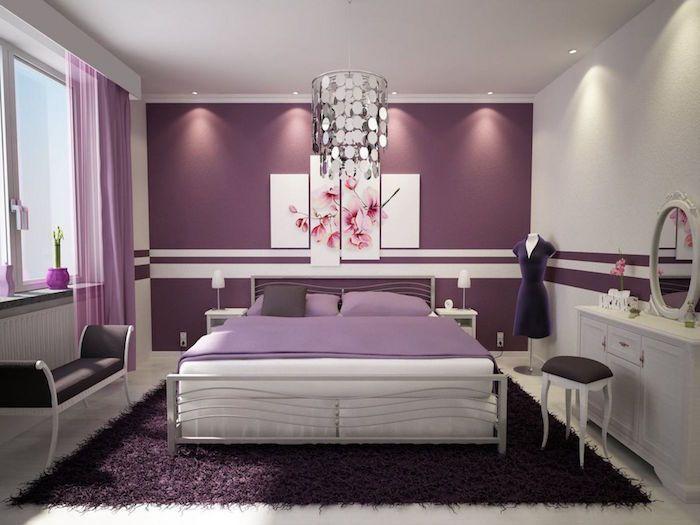 modele chambre couleur prune, chambre femme violet, decoration mauve ...
