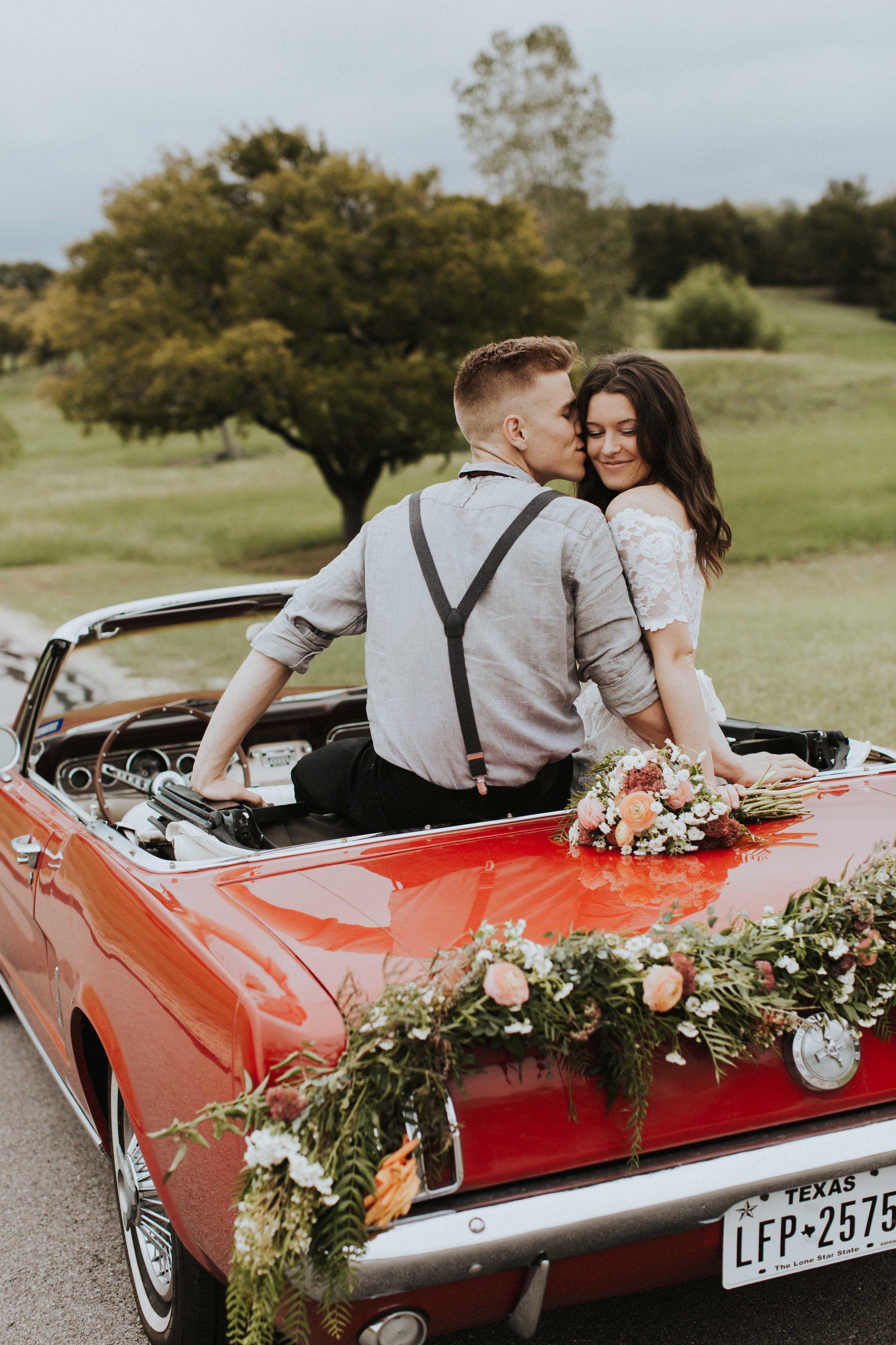 Hill country wedding getaway wedding getaway car hill