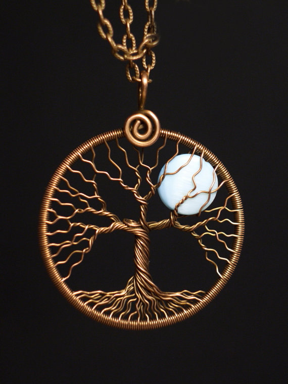 Tree of life pendant full moon necklace copper and mother of pearl tree of life pendant full moon necklace copper and mother of pearl shell round copper pendant blue moon pendant universal gift mw03 mozeypictures Choice Image