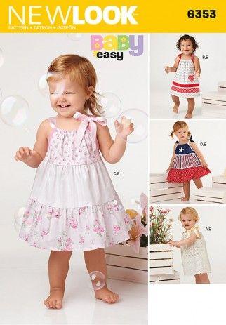 New Look Baby Easy Sewing Pattern 6353 Shoulder Tie Dresses   Sewing ...