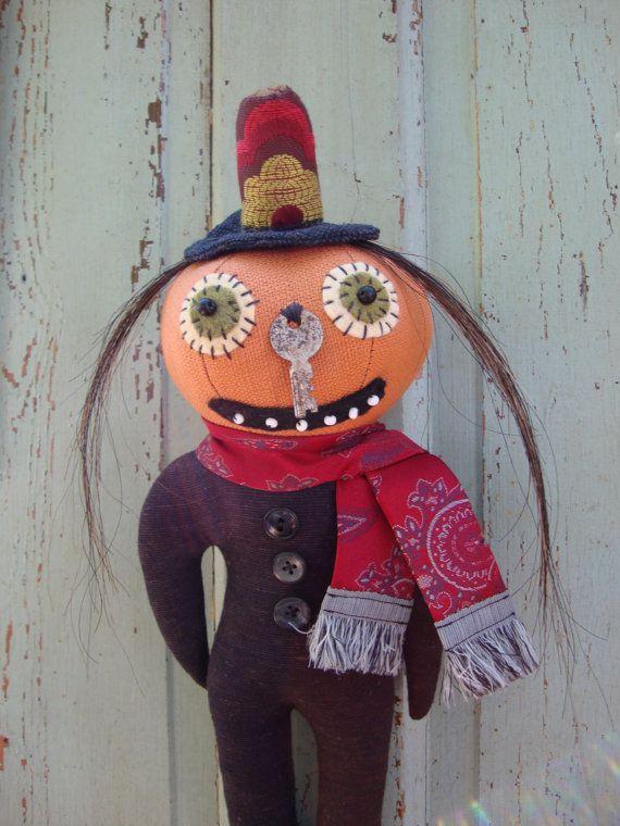 Halloween Folk Art Pumpkin Head Doll  Silly Ole by tatteredmoon