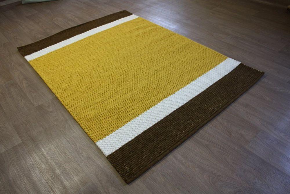 Teppich Handgestrickt 100% Wolle ~ 140x200cm Weiss Braun Gelb ~ 90 Euro  Ebay Shop