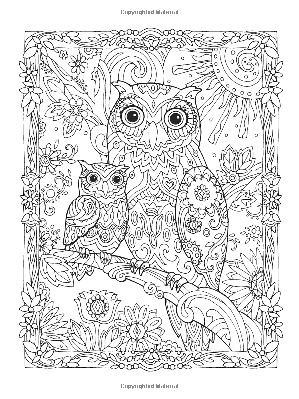 Creative Haven Owls Coloring Book artwork by Marjorie Sarnat ...