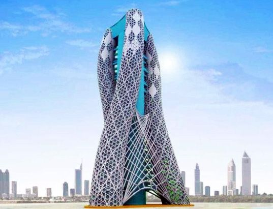 Oasis tower is a spiraling vertical farm for dubai for Famous structures in dubai