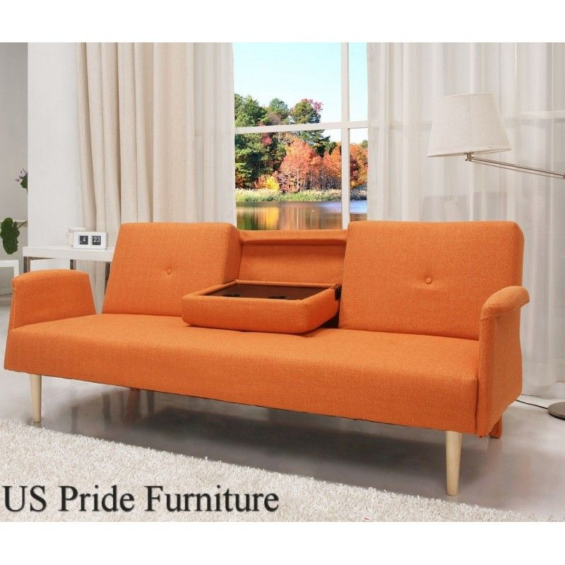 Orange Fabric Sofa Bed With Cup Holder At Wholesale Price Furniture Fabric Sofa Bed Mid Century Style Sofas