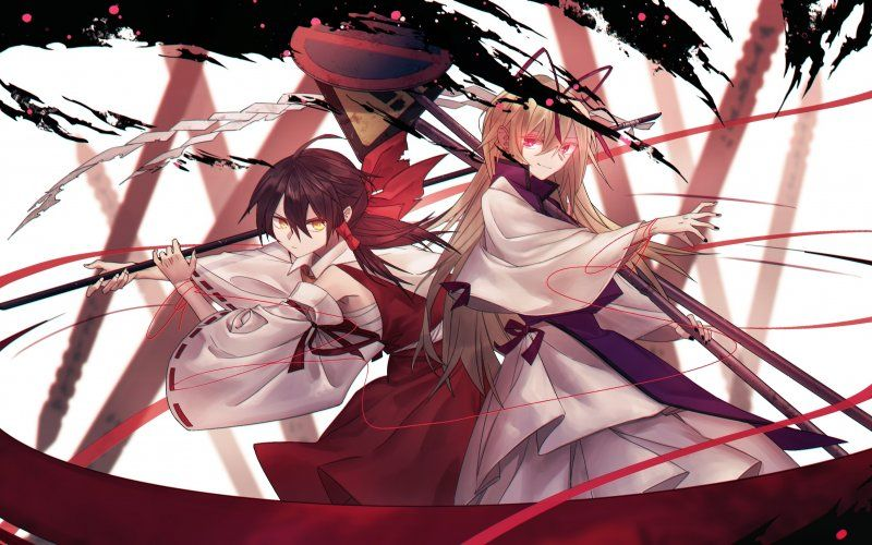 Wallpaper Reimu Hakurei Yukari Yakumo Anime Girls Touhou Art Yakumo Anime Anime Images