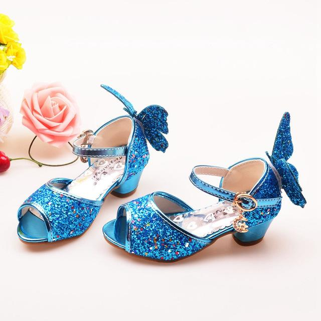ULKNN Girls Sandals Rhinestone Butterfly pink Latin dance shoes 5-13 years  old 6 children 7 summer high Heel Princess shoes kids 327dca80d03e