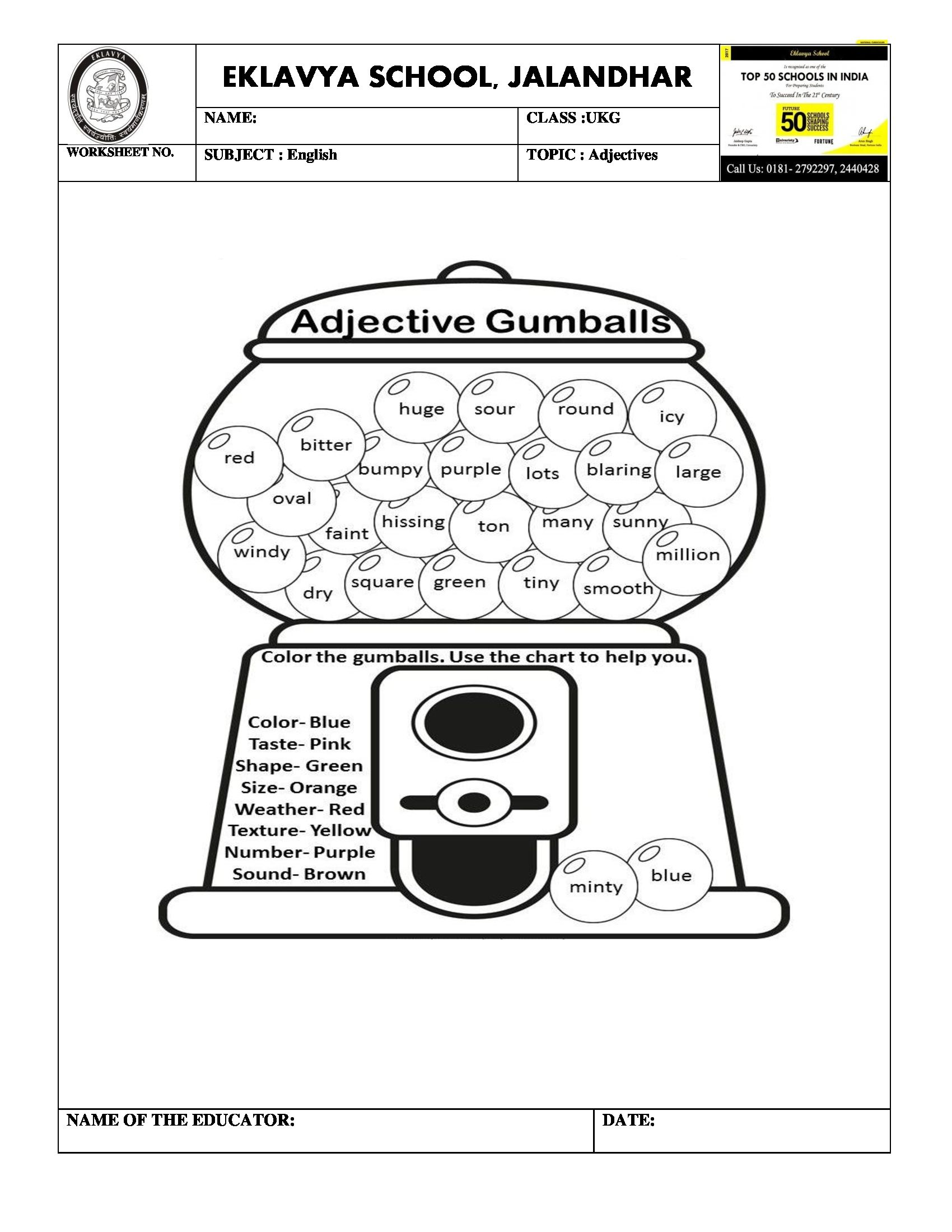 Worksheet On Adjectives