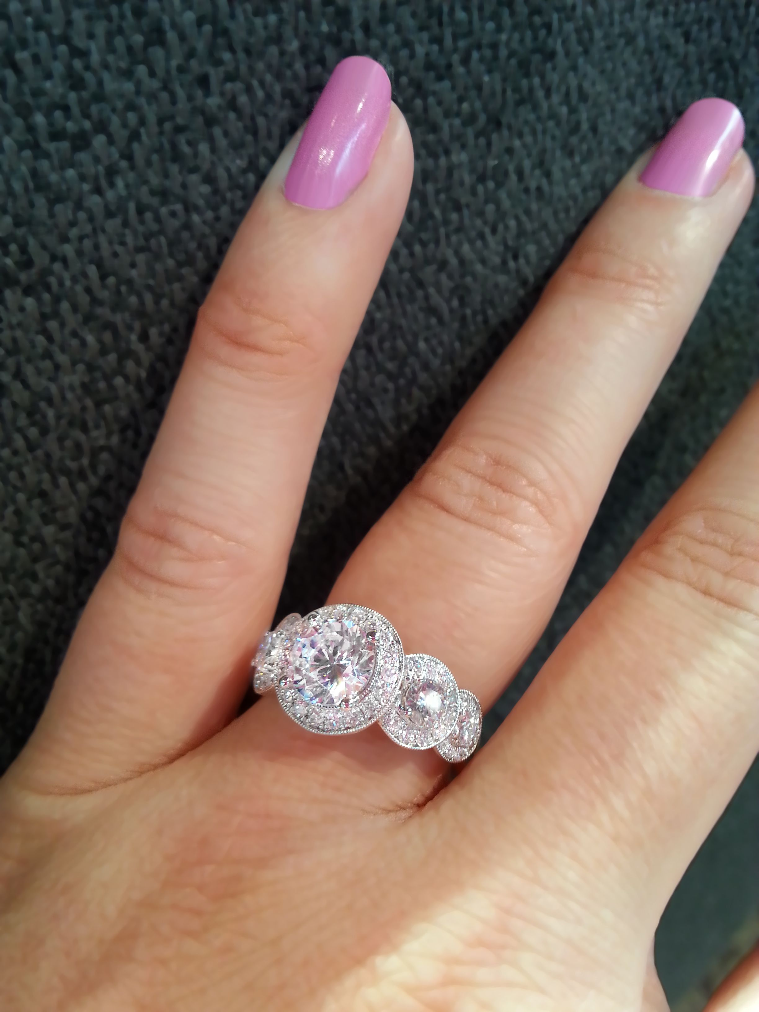 Sylvie Engagement Ring With Diamond Halos Around Center Stone And Side  Stones Sy878
